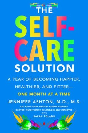 Book COver: The Self-Care Solution in a bright blue and rainbow letters