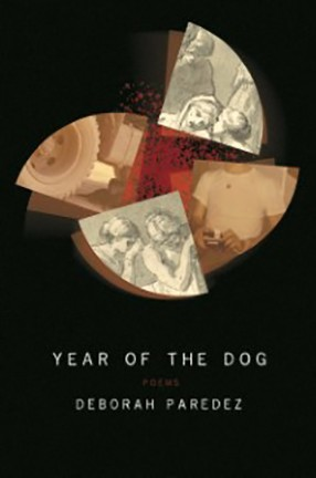 A book cover with text and a collage against black. Title: Year of the Dog.