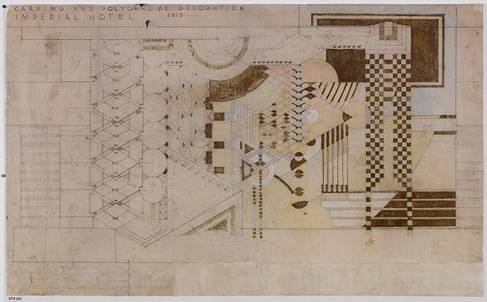 Imperial Hotel (Tokyo, Japan). Demolished 1968, Scheme 2. Paint, pencil, and colored pencil on tracing paper.Image Courtesy of The Frank Lloyd Wright Foundation Archives (The Museum of Modern Art | Avery Architectural & Fine Arts Library, Columbia University, New York)