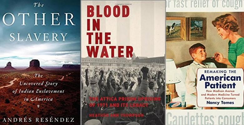 image is of three book jackets the other slavery in white text across a blue horizon sky atop of a prairie, blood in the water lettering displays a crowd of people at a rally and remaking the american patient cover reveals a mother administering medication to her young child