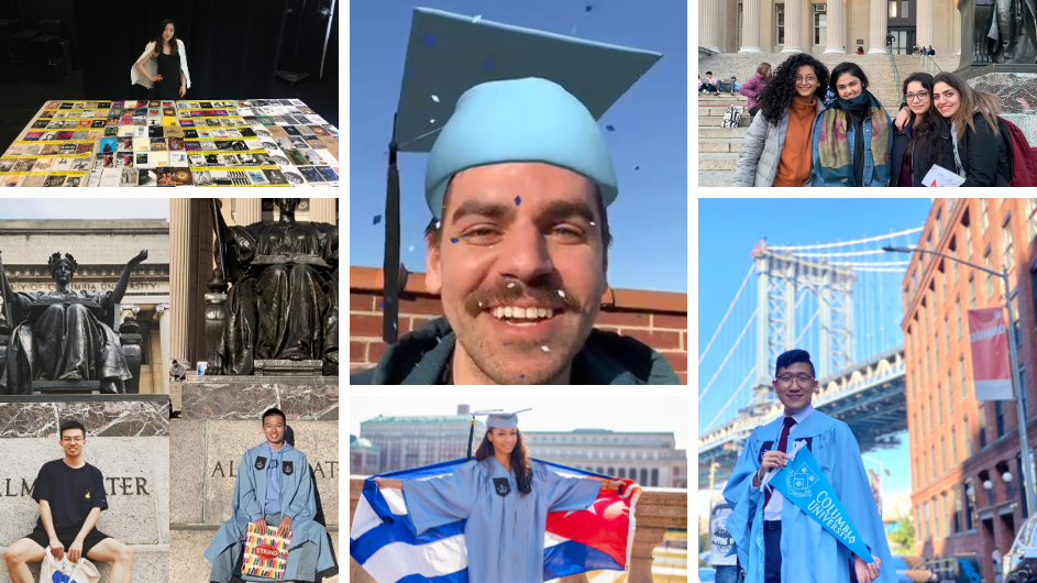 A collage of Columbia students celebrating graduation.