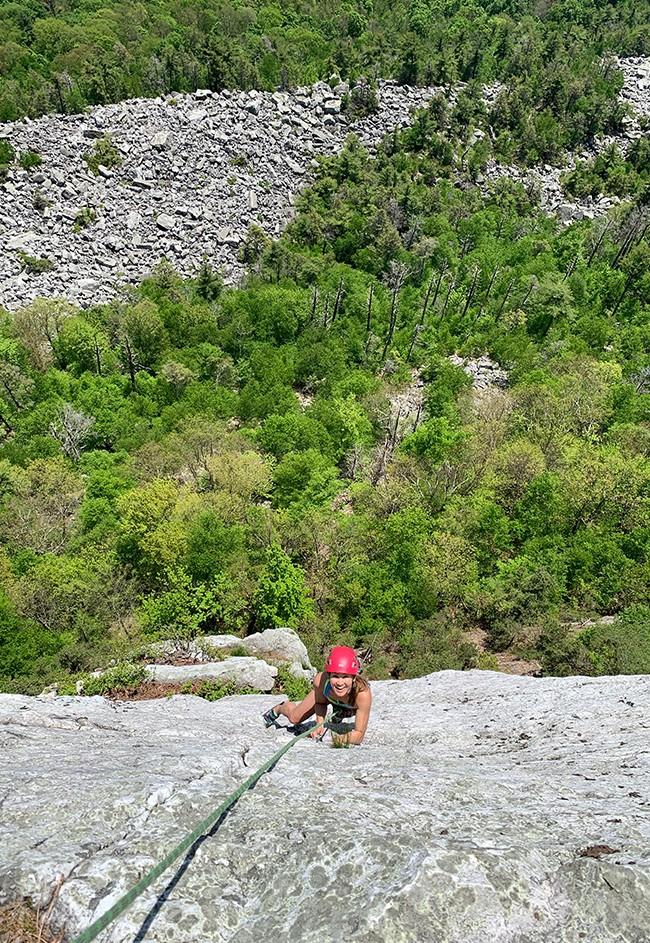 Christine Capilouto climbs in The Shawangunk Mountains.