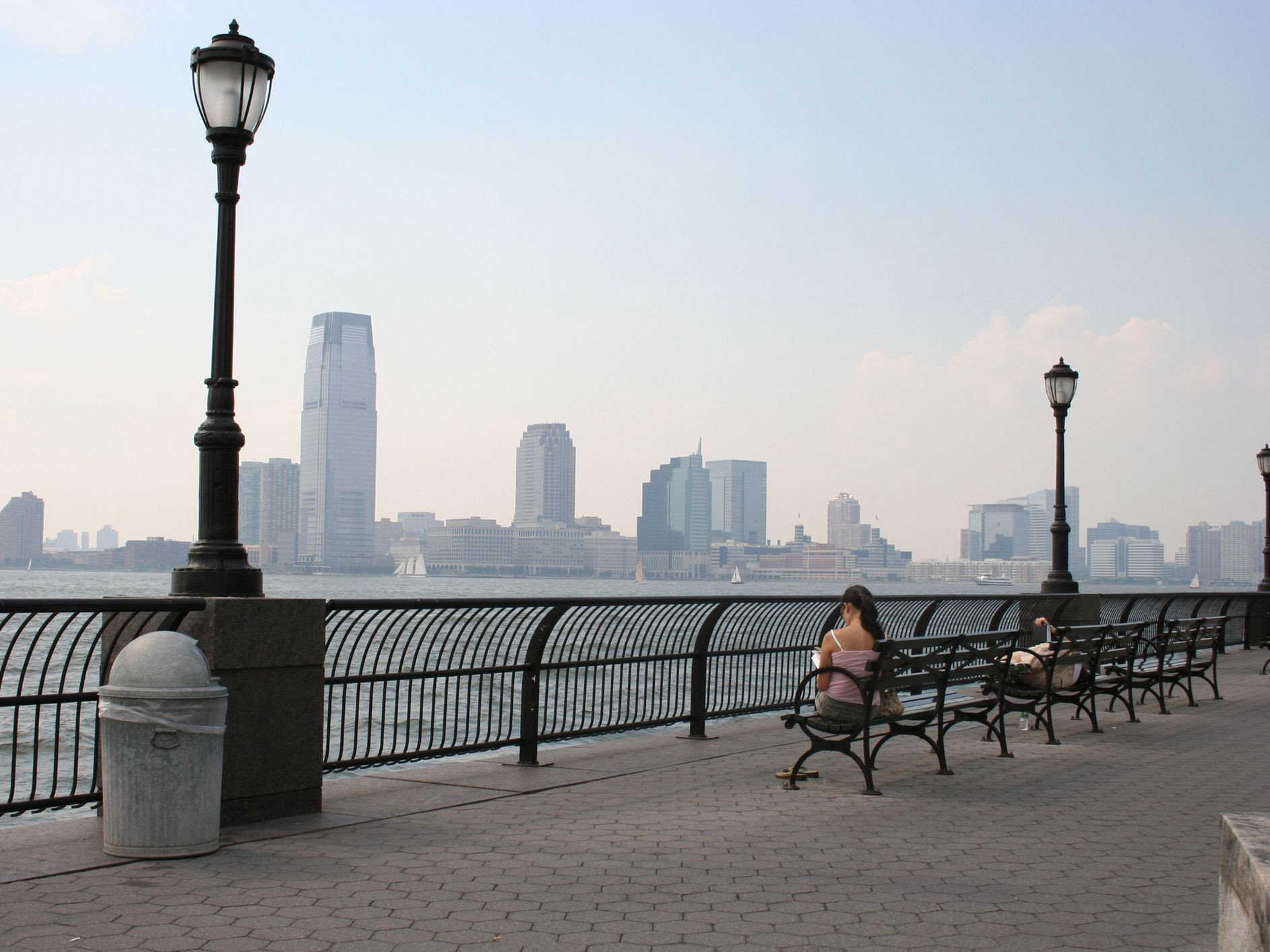 A view from Battery Park of Jersey City and the Hudson River.