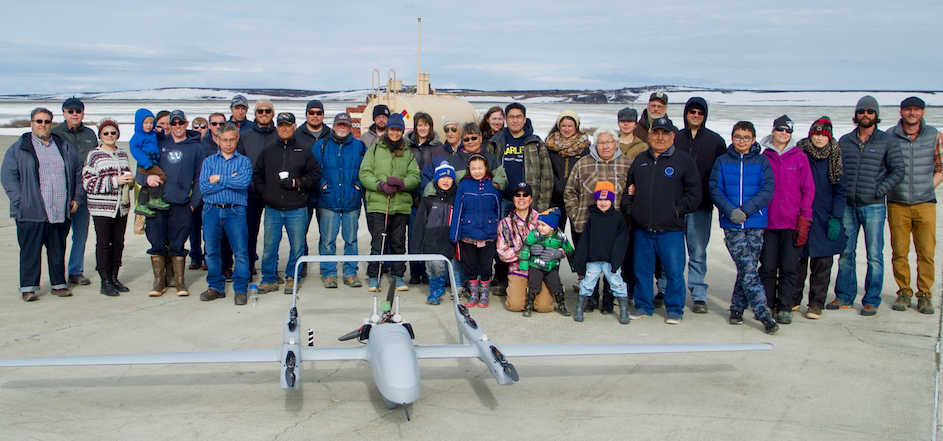 Team from Lamont-Doherty and Kotzebue community members with their Unoccupied Aerial Vehicle