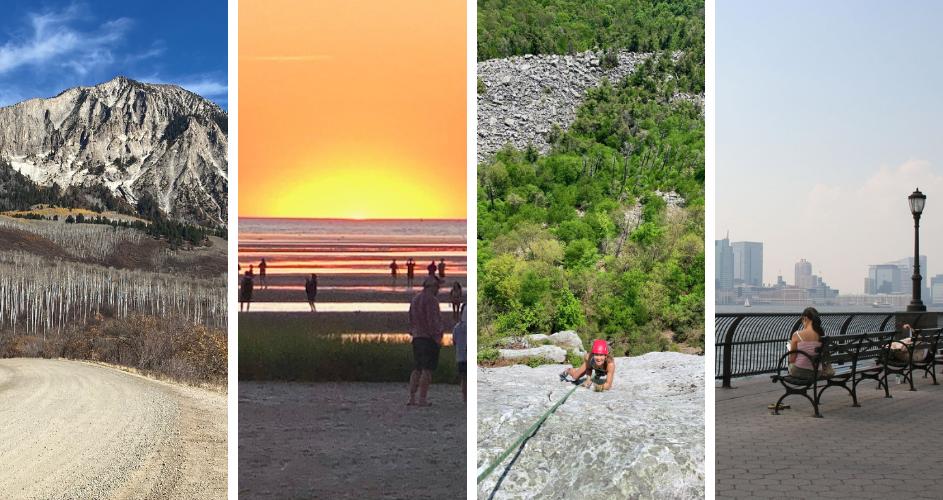 A collage of outdoor locations: a mountain, a beach, a rock climbing wall, an boardwalk.
