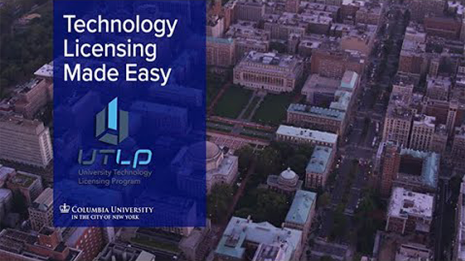 "An overhead view of the Columbia University campus with ""Technology Licensing Made Easy."""