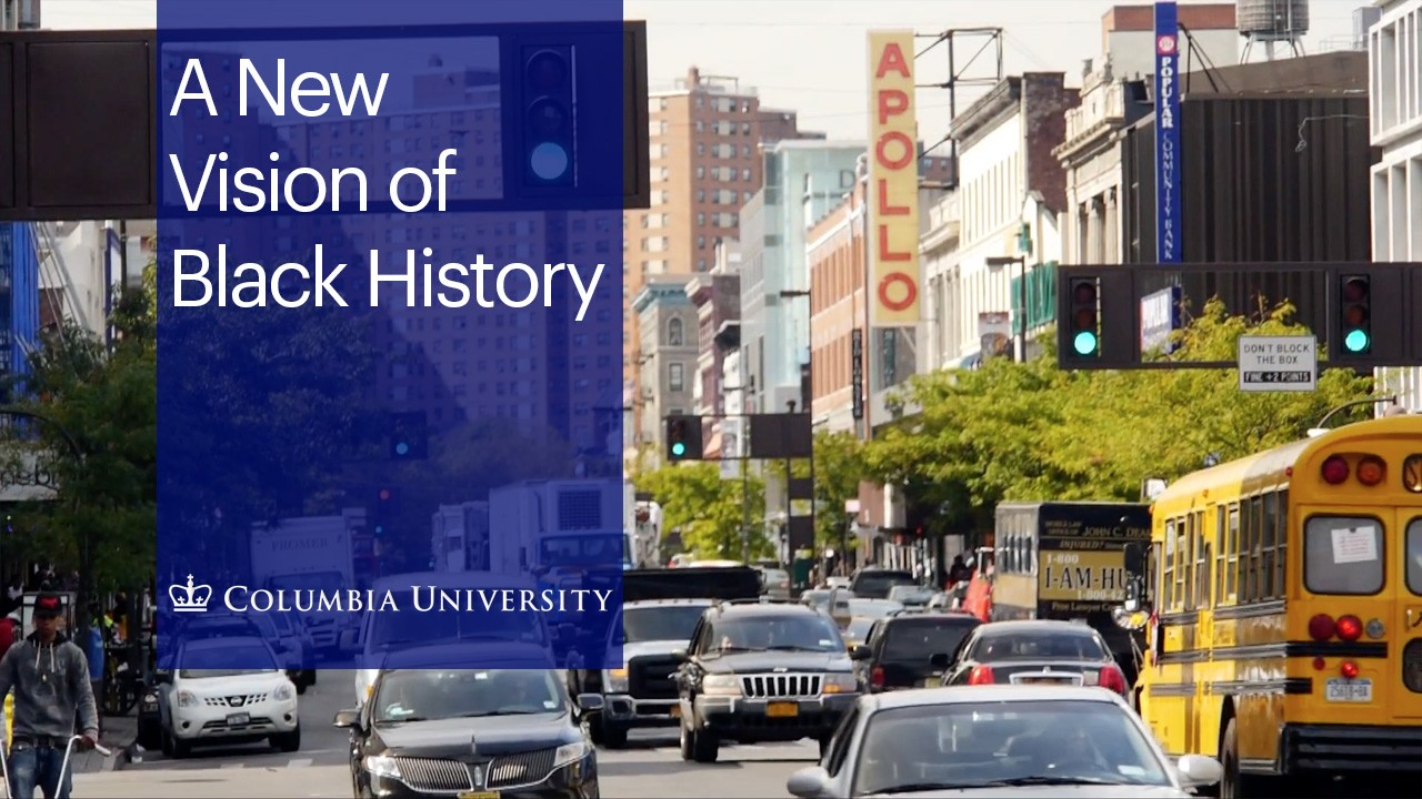 "A photo of a cars driving up Broadway in Harlem with the text ""A New Vision of Black History"" overlaid."