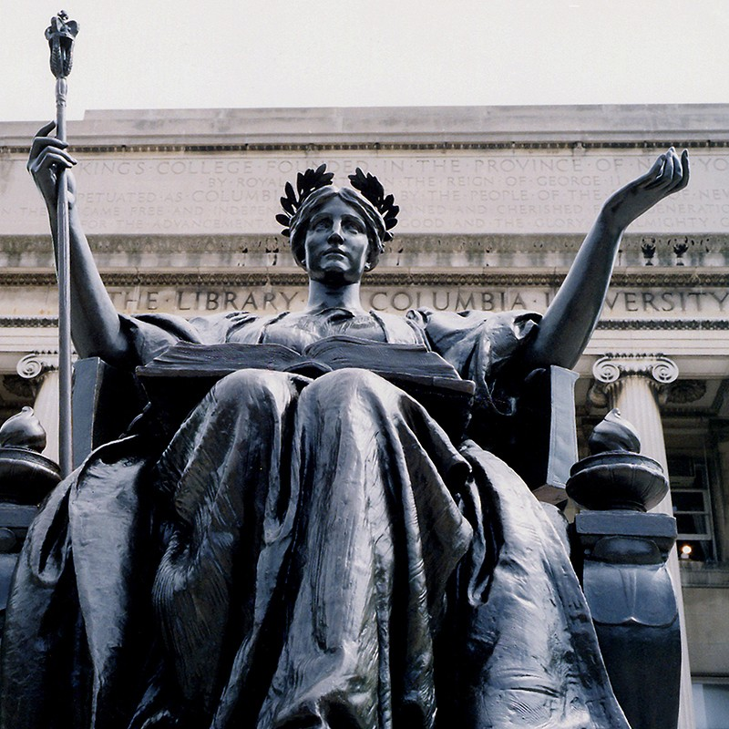 Statue of Alma Mater in front of Low Library at Columbia University