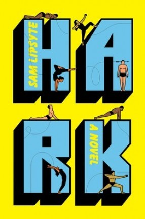a book cover with a yellow and blue drawing of big letters and swimmers