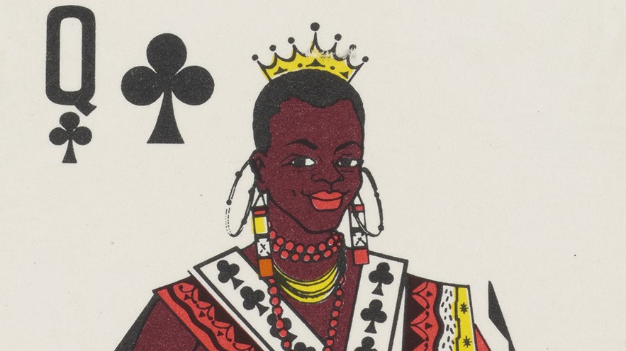 A queen of spades playing card showing an image of a queen.