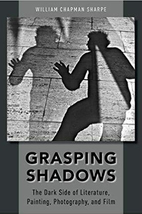 Book cover of Grasping Shadows, featuring a grayscale image of the silhouette of a man casting a shadow on a sidewalk