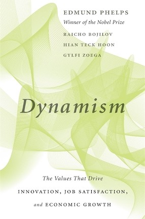 A book cover for Edmund Phelps's Dynamism. It has a chartreuse abstract image in the background.