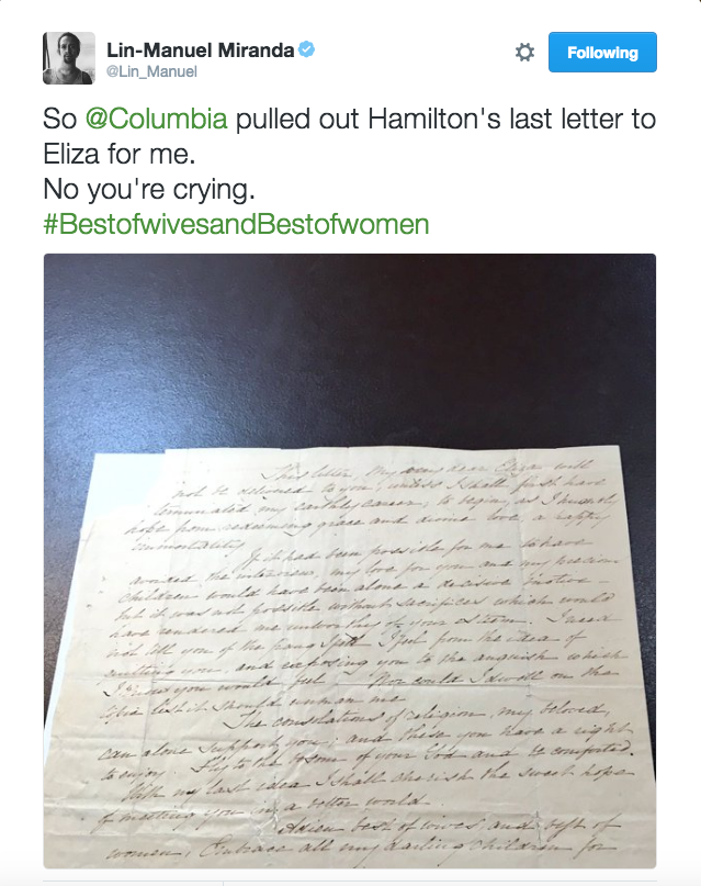 So Columbia pulled out Hamilton's last letter to Eliza for me. No you're crying. #BestofwivesandBestofwomen