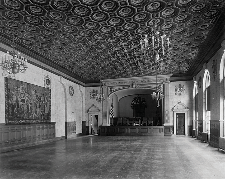 Interior of an auditorium with gilded ceiling