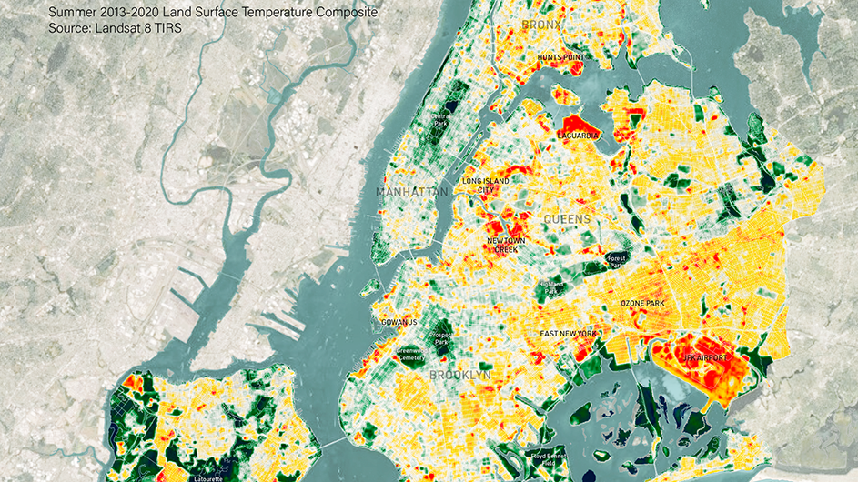 A colorful map of New York City's five boroughs.
