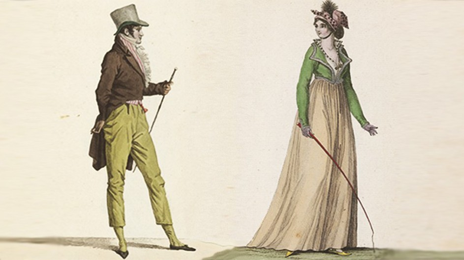 An image of a man and an image of a woman from the Journal des Dames et des Modes.