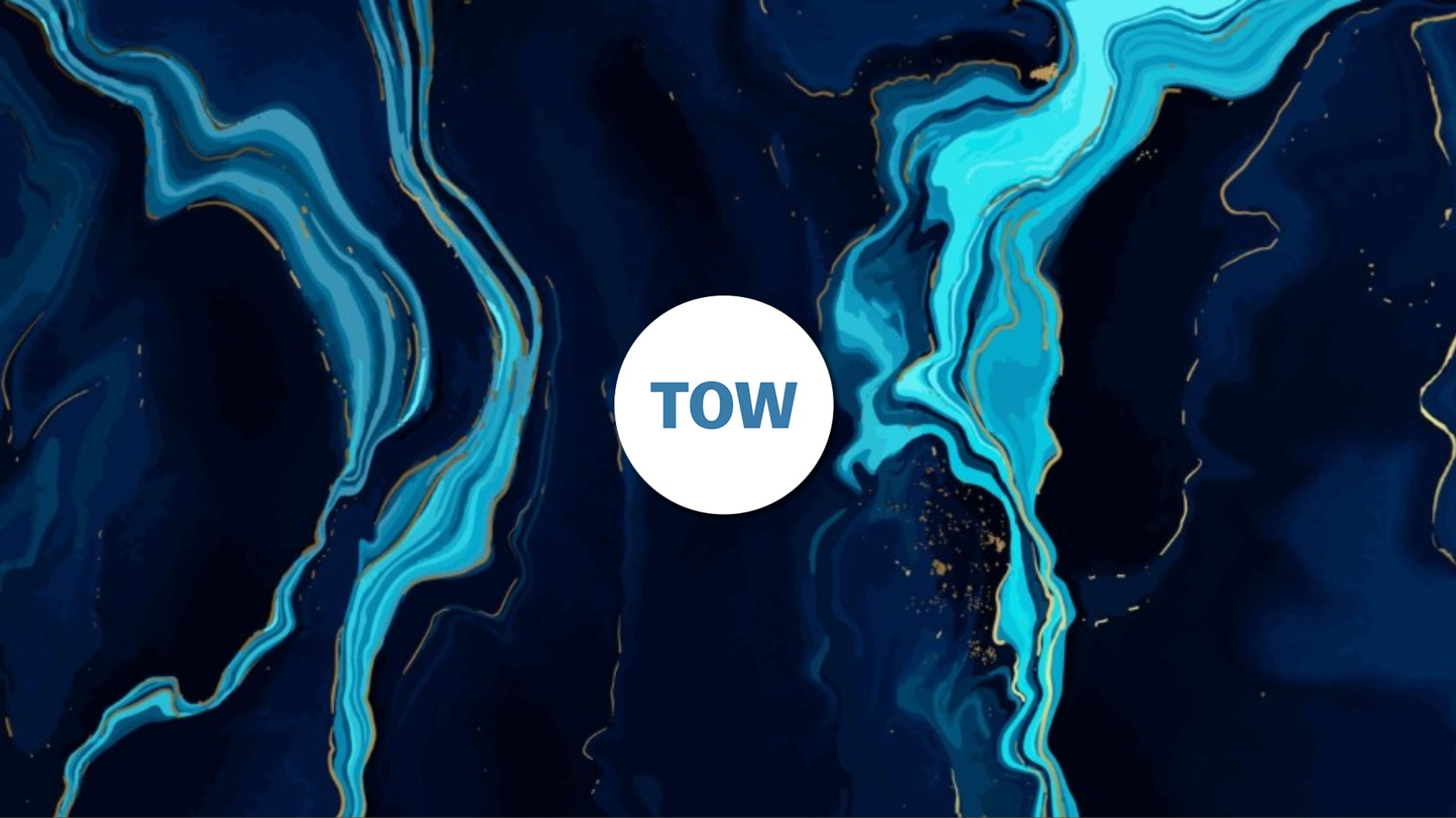 Illustration of a marble effect in blue on a black background-- the word Tow is in the background