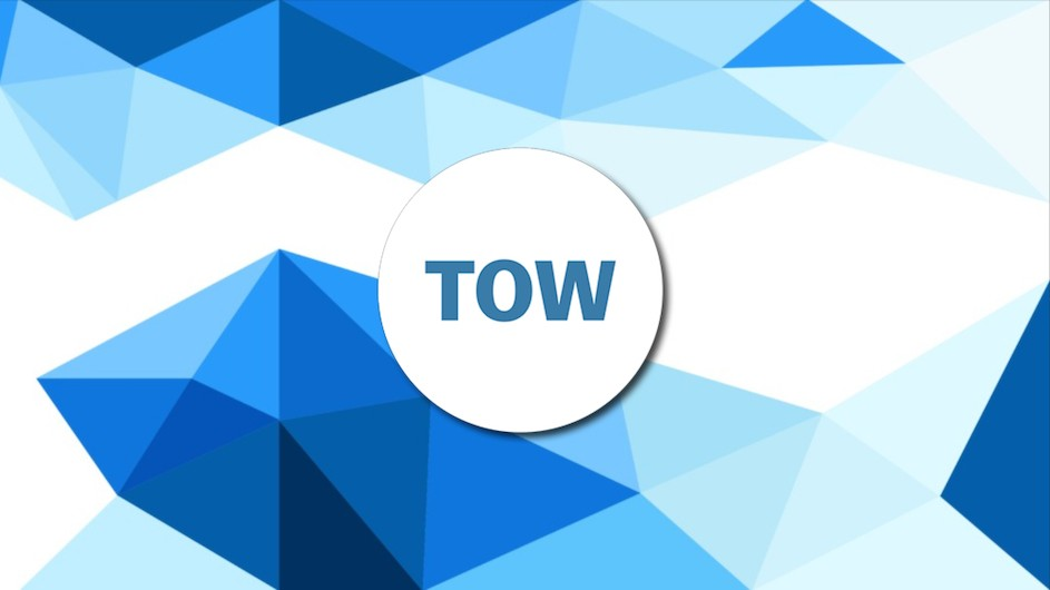 "Modern looking design with different shades of blue triangles and with a circle saying ""TOW"" in the center of the image"