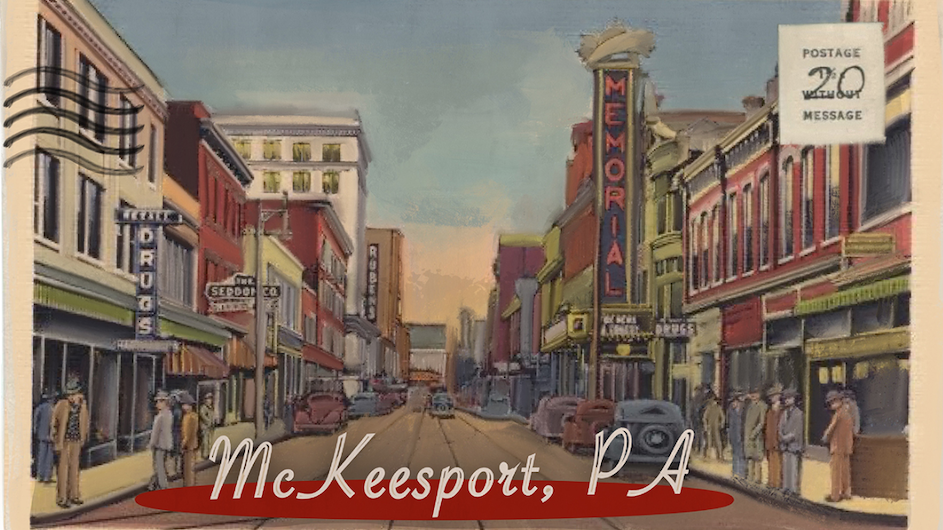 Old postcard with a stamp and an illustrated image of a main street in McKeesport, PA