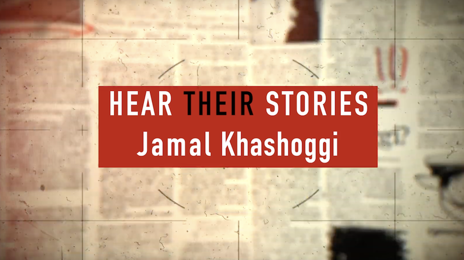 "Red square with text ""Hear Their Stories Jamal Khashoggi"" with blurry newspaper text in the background"