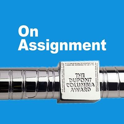 "Blue logo of Columbia Journalism School's podcast, ""On Assignment."""