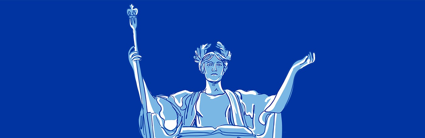 Blue-toned illustration of the statue of Alma Mater, a seated woman in classical robes with a laurel wreath in her hair, holding a scepter.