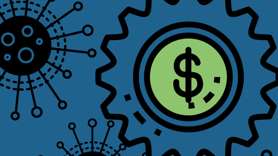 Illustration of a dollar sign with a green background within a gear and star-like illustrations next to it. the whole image has a blue background.
