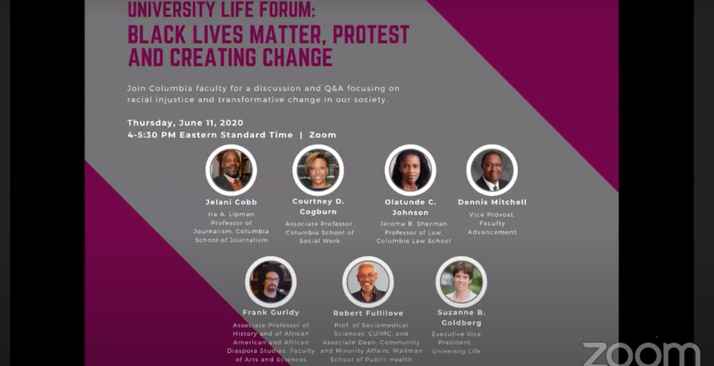 "An image of the a flyer with purple and grey background saying ""University Life Forum: Black Lives Matter, Protest and Creating Change"""
