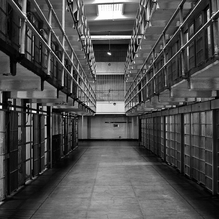 Black and white image of a prison