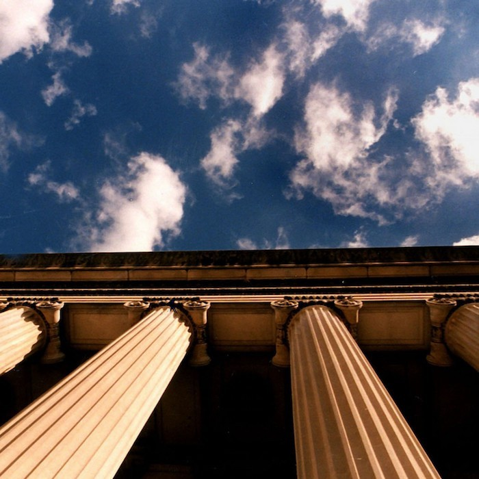 Sky and columns of a building
