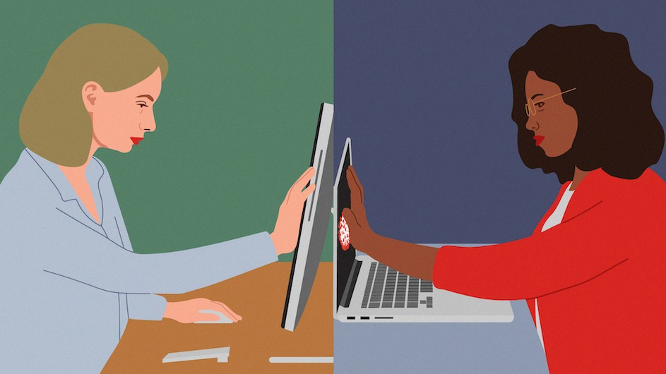Illustration of one woman touching her computer screen on one side of the image and another image of a woman touching her computer screen on the other side