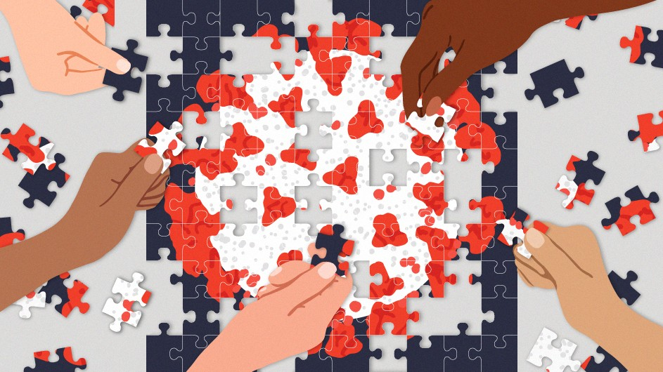 Illustration of a covid-19 virus as a puzzle with people's hands trying to put it together