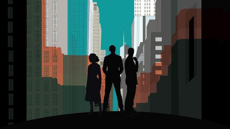 An illustration of three people in silhouette in a city scape. There are lots of shadows.