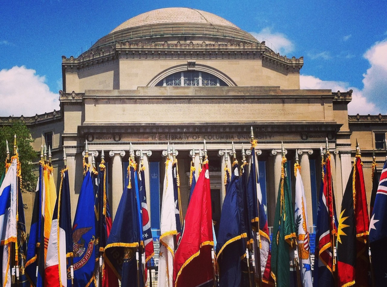 Image of Columbia University Low Library w/ flags
