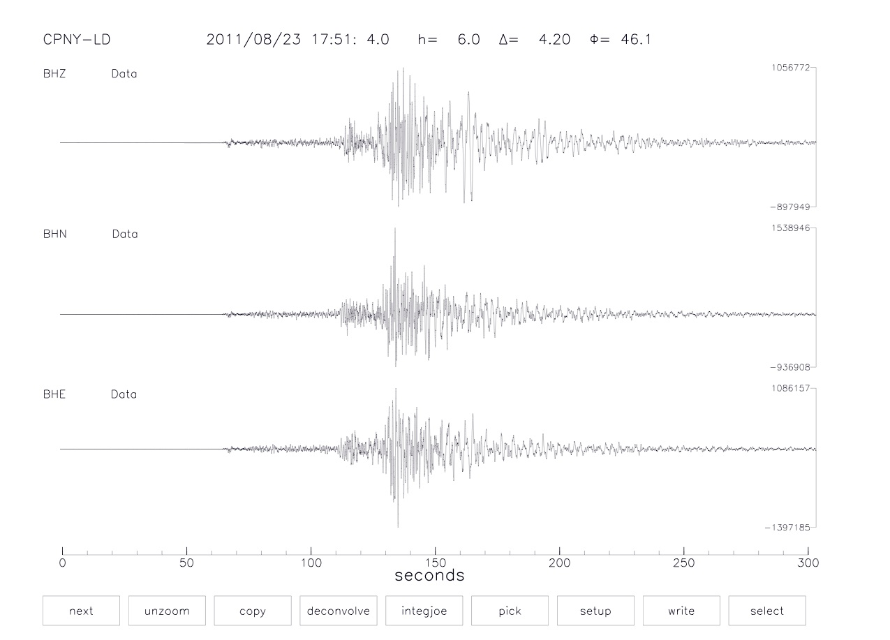 A seismograph showing lines from the earthquake