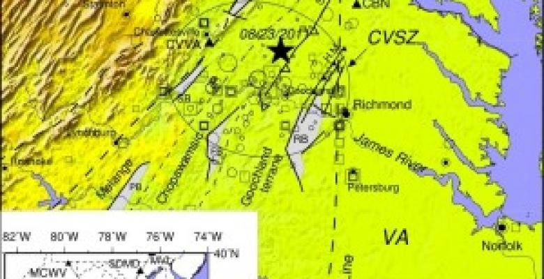 An aerial map of Virginia earthquake epicenter