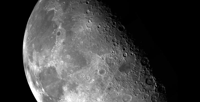 Close up of the moon's surface