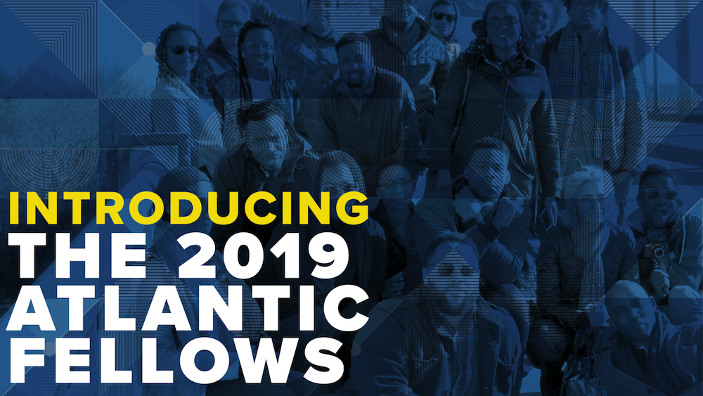"Graphic image with people in the blue background and the text saying ""Introducing the 2019 Atlantic Fellows."""