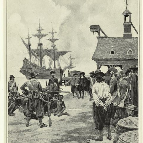 Drawing of slave owners arriving at Jamestown with slaves.