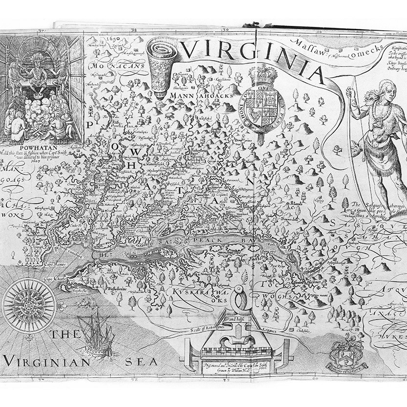 An archival illustrated map of Virginia