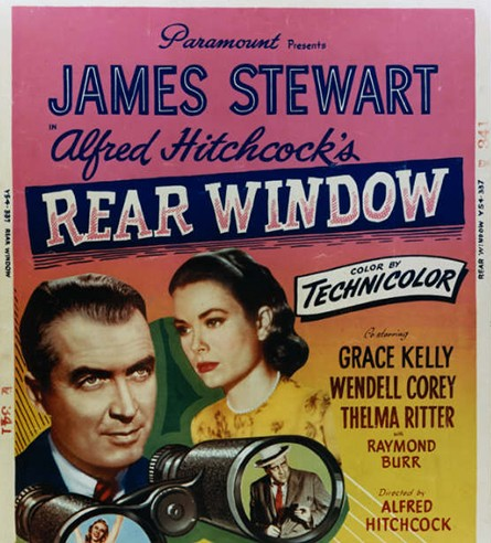Movie poster of Rear Window featuring James Stewart and directed by Alfred Hitchcock.