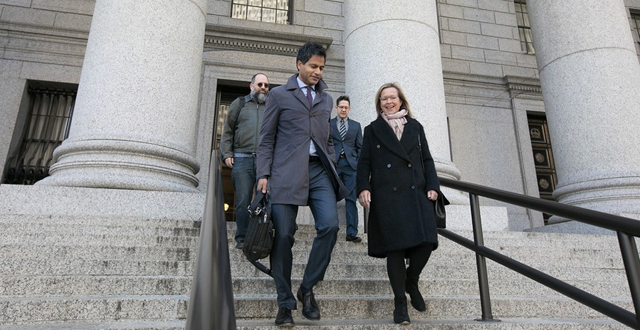 Jameel Jaffer and Katie Fallow walk out of the courthouse where they made arguments in the Knight Institute v. Trump first amendment lawsuit.