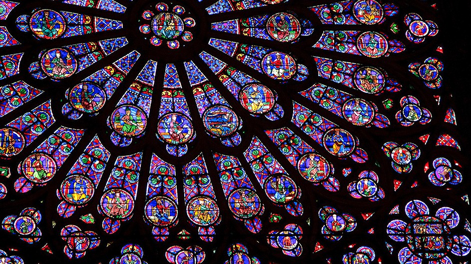 Stained glass window in the Notre Dame de Paris.