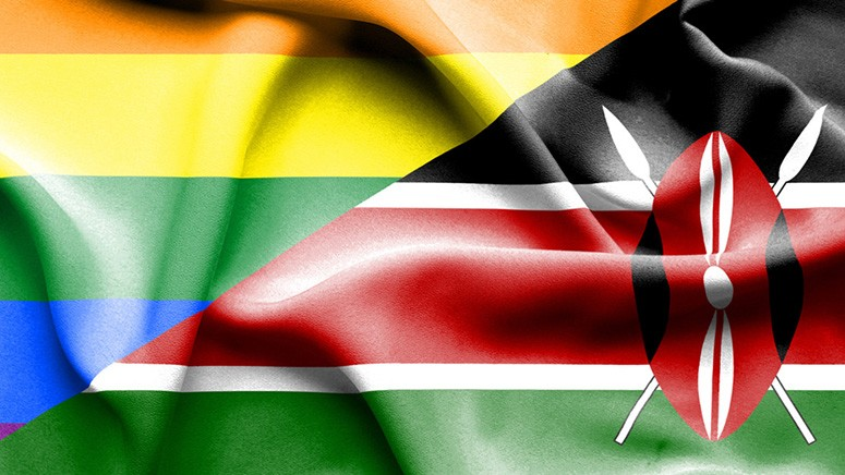 A rainbow flag and the flag of Kenya side by side