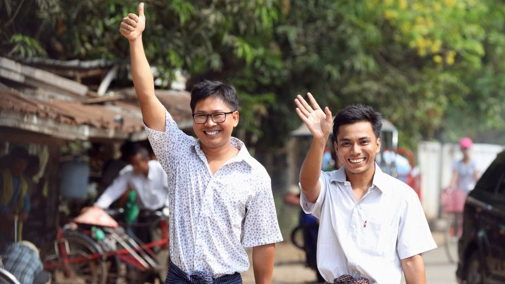 Wa Lone and Kyaw Soe Oo as they were freed from prison in Myanmar