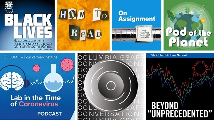 "Image tiles for the podcasts ""Black Lives,"" ""How to Read,"" ""On Assignment,"" ""Pod of the Planet,"" ""Lab in the Time of Coronavirus,"" ""GSAPP Conversations,"" and ""Beyond Unprecedented."""