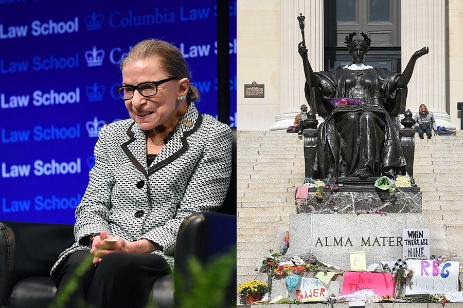 In the photo on the left, Justice Ruth Bader Ginsburg poses against a Blue Columbia Law School backdrop and on the right the statue of Alma Mater is covered in signs and flowers honoring Ruth Bader Ginsburg.