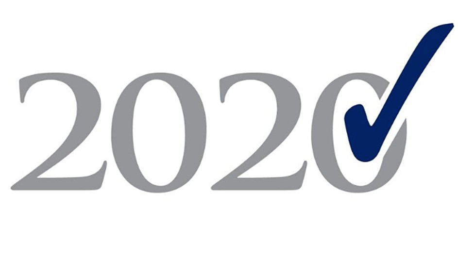 The number 2020 in gray on a white background with a blue check mark in the last 0