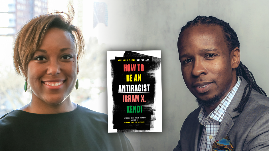 "An image of a headshot of a woman with light brown hair wearing green earrings and a black shirt on the left and a headshot of a man with long dark hair wearing a light buttoned down shirt and a gray blazer with an image of a book ""How to Be an Antiracist"" in the center of the picture"