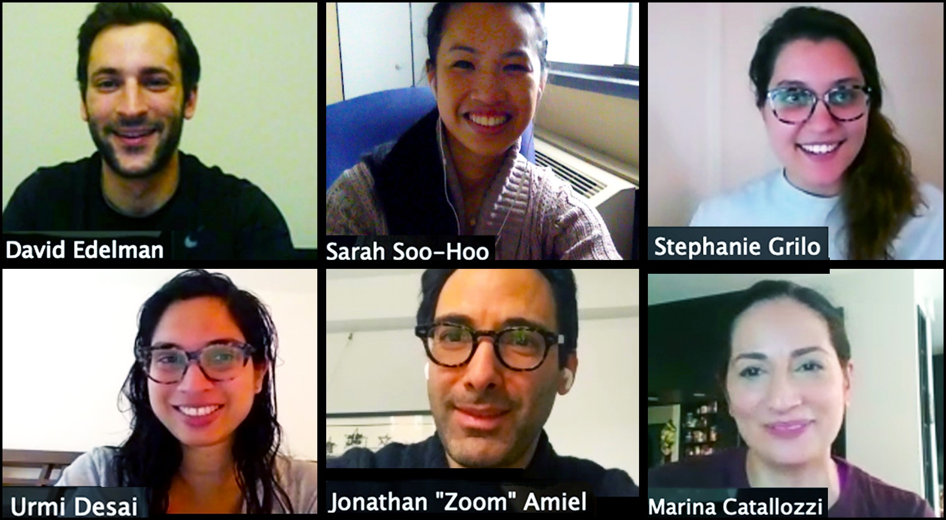 Screenshot of six Columbia University students and faculty talking to each other remotely in a video conference call.